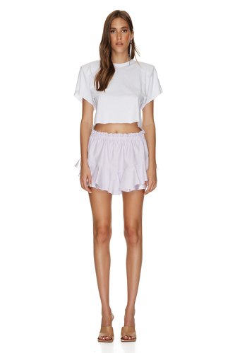 Lavender Shorts With Elasticated Waistband - PNK Casual