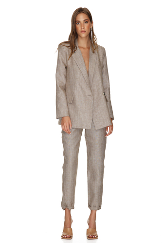 Brown-Gold Oversized Linen Blazer - PNK Casual