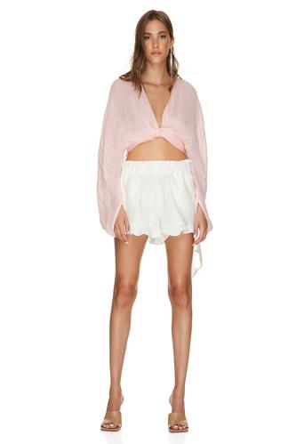 White Cotton Boho Shorts - PNK Casual