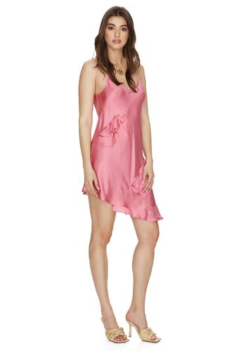 Dusty Pink Viscose Mini Dress with Adjustable Straps - PNK Casual