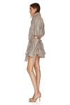 Brown-Gold Linen Cutout Mini Dress