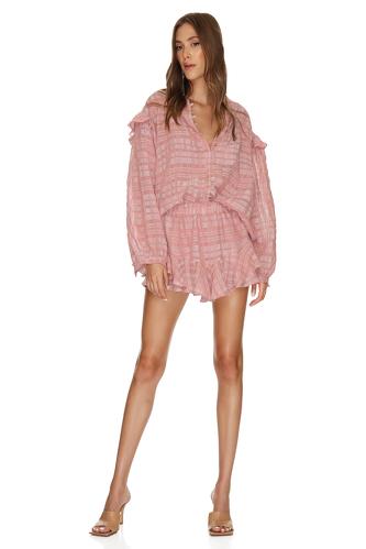 Checkered Pink Linen-Cotton Blouse - PNK Casual
