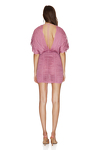 Wrap-Effect Pink Silk Tulle Mini Dress