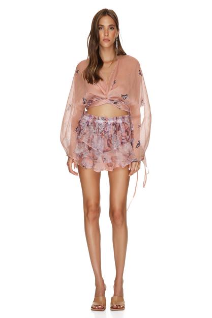 Beige Printed Silk-Linen Shorts