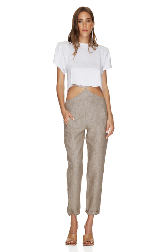 Brown-Gold Linen Pants With Detail at the Waist - PNK Casual