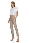Brown-Gold Linen Pants With Detail at the Waist
