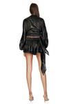 Black Metallic Silk Shorts