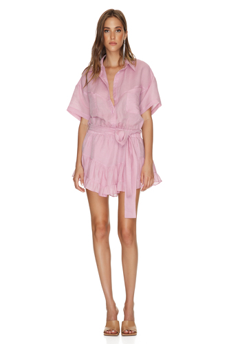Pink Linen Mini Dress With Elasticated Waistband - PNK Casual