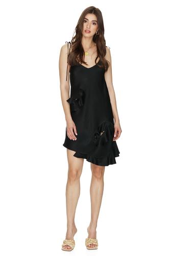 Black Viscose Mini Dress With Adjustable Straps - PNK Casual