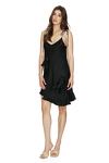 Black Viscose Mini Dress With Adjustable Straps