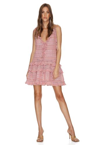 Checkered Pink Linen-Cotton Mini Dress - PNK Casual