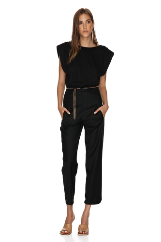 Backless Cotton Rib Black Bodysuit With Chain Detail - PNK Casual