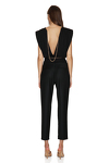 Backless Cotton Rib Black Bodysuit With Chain Detail