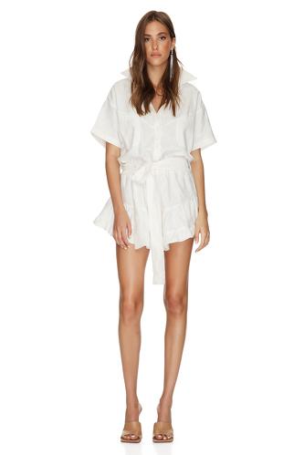 White Cotton Mini Dress With Elasticated Waistband - PNK Casual