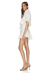 White Cotton Mini Dress With Elasticated Waistband