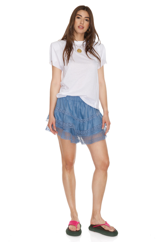 Blue Linen Shorts With Cotton Lace Insertions - PNK Casual