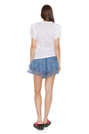 Blue Linen Shorts With Cotton Lace Insertions