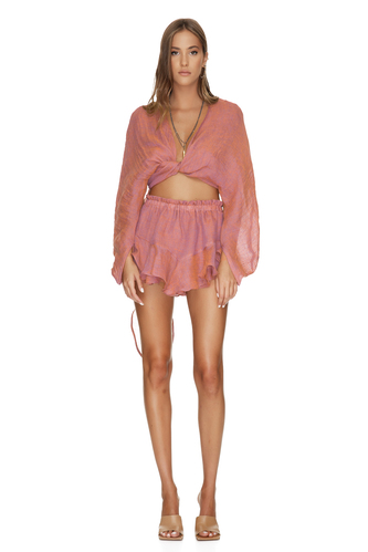 Linen Brick Orange Shorts - PNK Casual