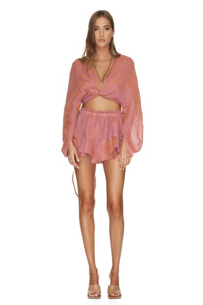 Linen Brick Orange Shorts
