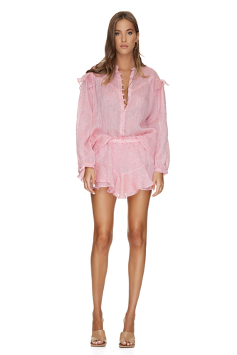 Pink Oversized Linen Blouse - PNK Casual