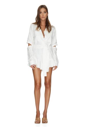 White Cotton Cutout Mini Dress - PNK Casual