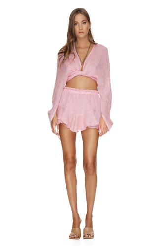 Wrap Linen Pink Blouse - PNK Casual