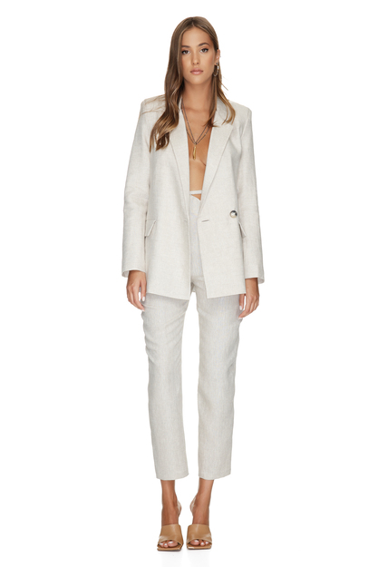 Beige Linen Pants With Detail at the Waist