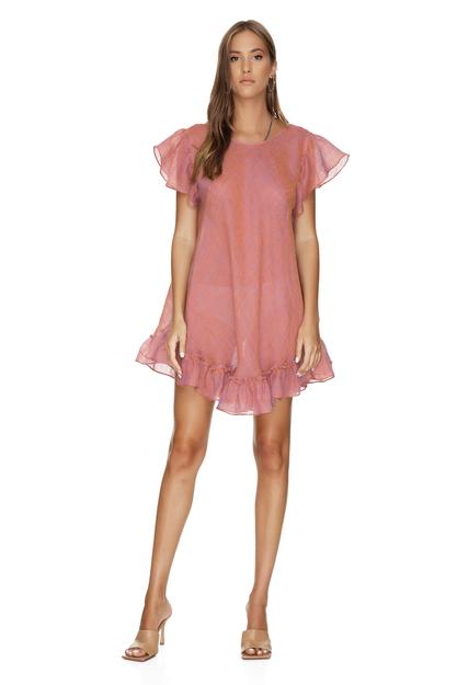 Backless Oversized Linen Dress With Ruffles