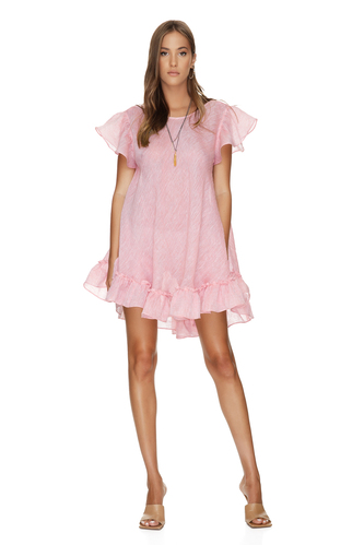 Backless Oversized Pink Linen Dress With Ruffles - PNK Casual