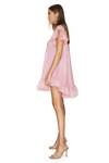 Backless Oversized Pink Linen Dress With Ruffles