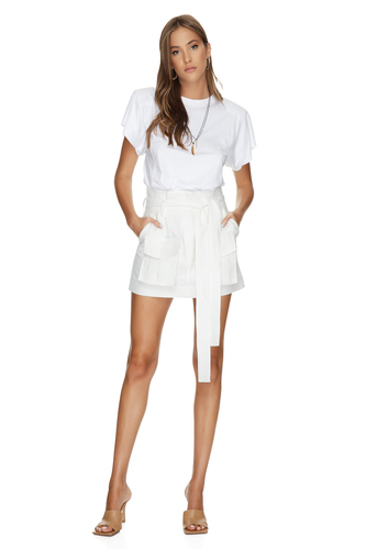 White Mini Skirt With Pockets Front Detail - PNK Casual