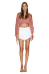 White Crocheted Cotton Lace Shorts