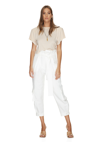 White Pants With Pockets Front Detail - PNK Casual