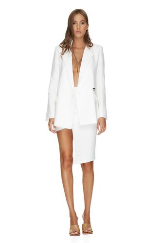 White Oversized Linen-Cotton Blazer - PNK Casual
