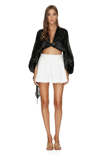 White Mini Skirt With Folded Front Detail - PNK Casual