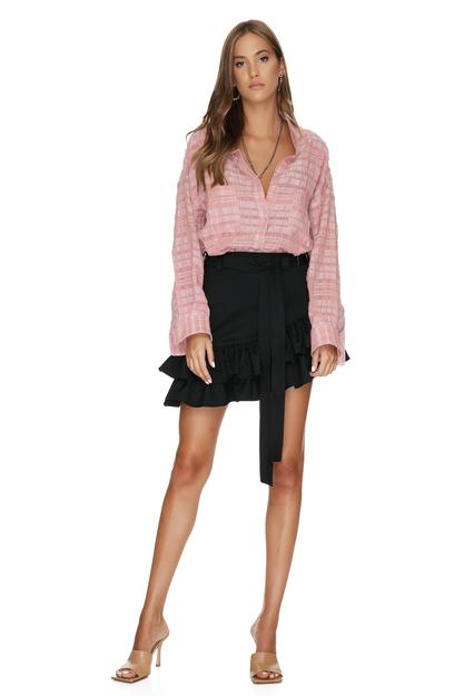 Pink Checkered Distressed Shirt