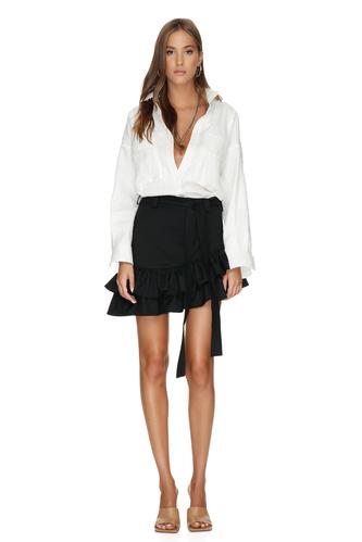 Black Wool Asymmetrical Mini Skirt With Ruffles - PNK Casual