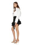 Black Wool Asymmetrical Mini Skirt With Ruffles