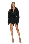 Black Wool Cutout Mini Dress