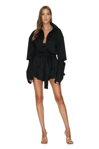 Black Wool Cutout Mini Dress - PNK Casual