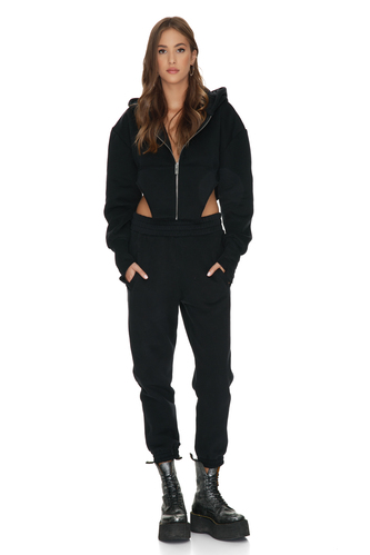 Black Track Pants With Elasticated Waistband - PNK Casual