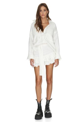 White Cotton Asymmetrical Mini Skirt With Ruffles - PNK Casual