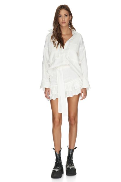 White Cotton Asymmetrical Mini Skirt With Ruffles