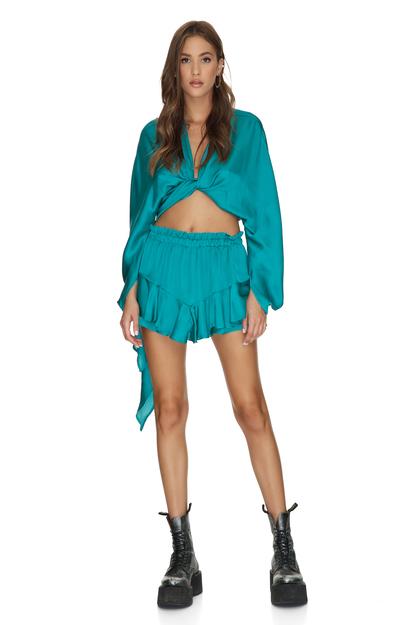 Green Viscose Shorts