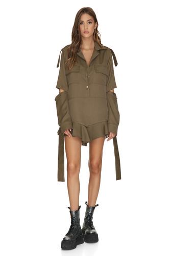 Kaki Cutout Mini Dress - PNK Casual
