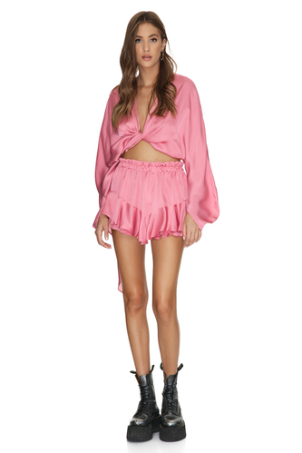 Wrap Pink Viscose Blouse - PNK Casual