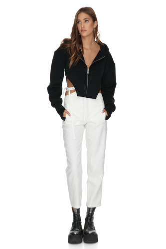 White Cotton Pants With Detail at the Waist - PNK Casual