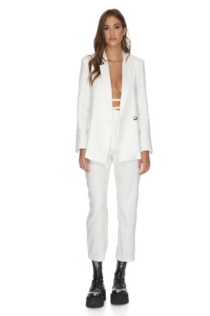 White Oversized Cotton Blazer