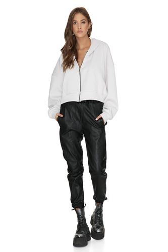 Long Sleeve Zipped Cotton Rib Hoodie - PNK Casual