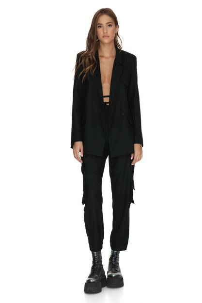 Black Wool Pants With Pockets Detail